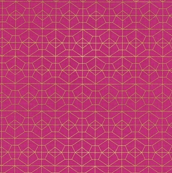 Cotton+Steel, Akoma gold auf pink, Webstoff