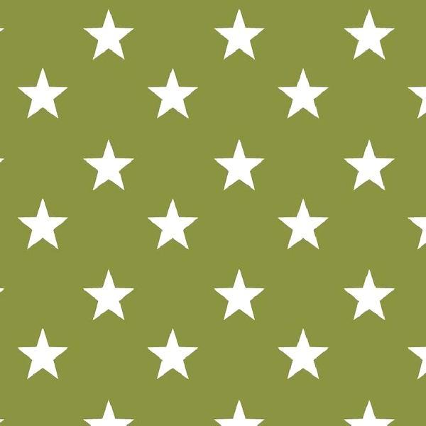 Lili Big Star weiß auf waldgrün, Webstoff, waschbar bei 60°