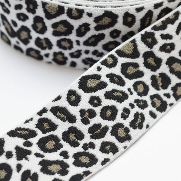 Gummiband breit, Animalprint Panther, schwarz-taupe auf weiß