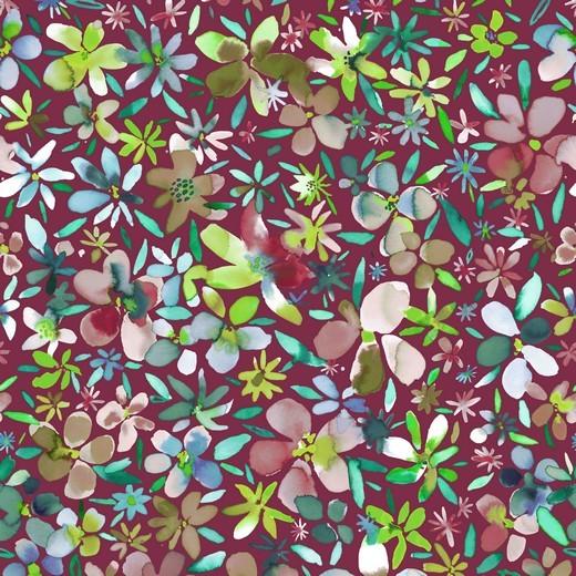 Petal Flowers bordeaux, Baumwolllstoff, waschbar bei 60°
