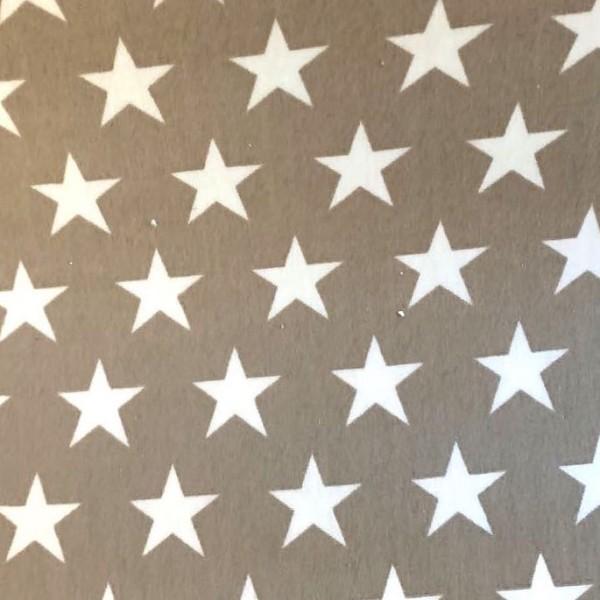 Alex, beschichtete Baumwolle, Sterne weiß auf taupe