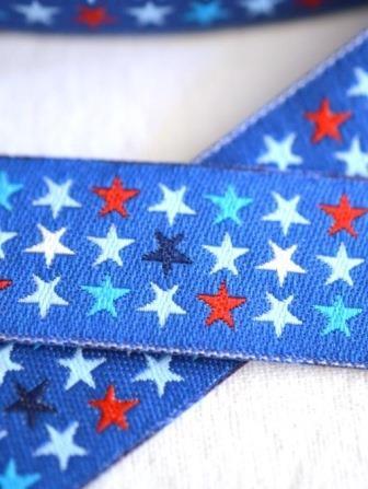 Sterne in drei Reihen, dunkelblau, Webband