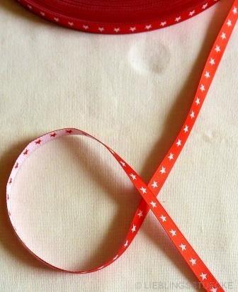 schmales Sternchenband, rot-weiß, Webband beidseitig