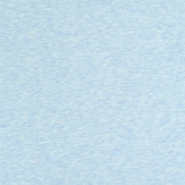 Pointelle-Jersey mit Lochmuster hellblau-meliert