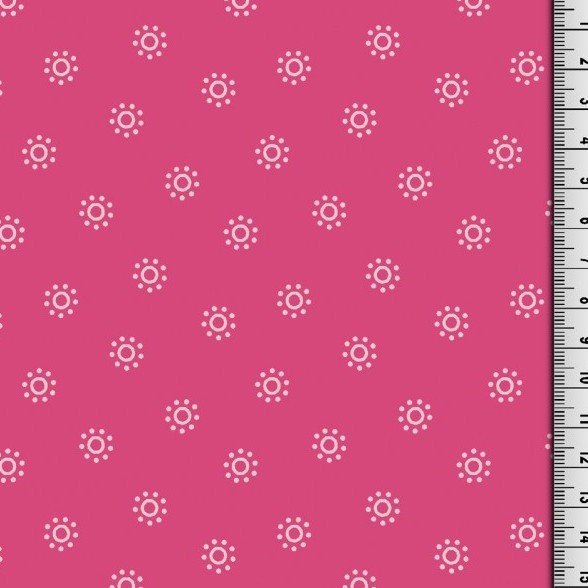 Lazy Daisy, Blumenpunkte pink, Webstoff