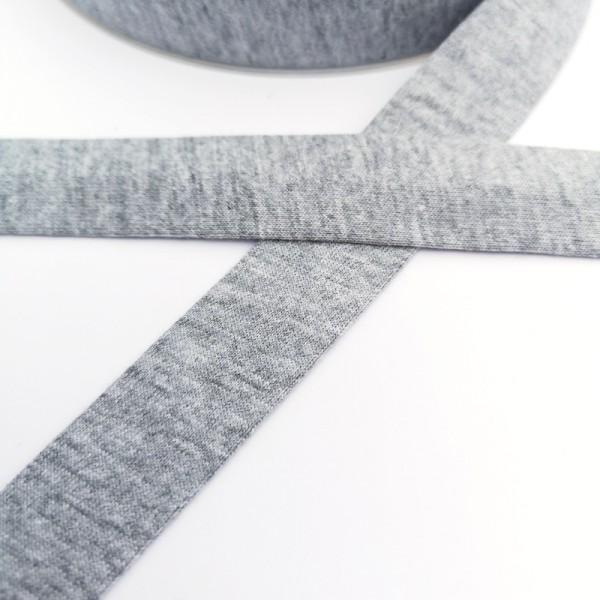 Baumwolljersey-Schrägband ohne Elasthan, hellgrau-meliert