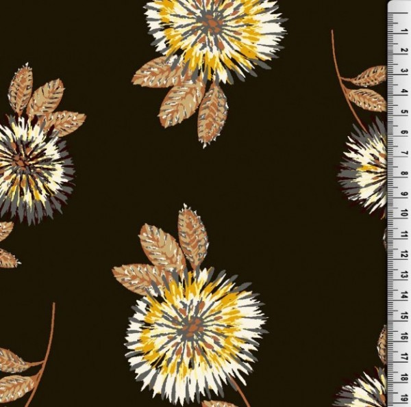Viskosewebstoff Winterblumen dunkelbraun