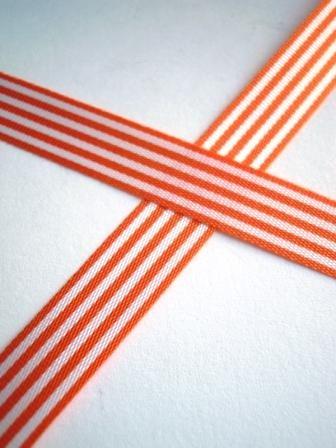 Stoffband, orange gestreift, 10 mm