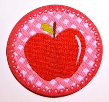 Applikation Apfel rot auf pink