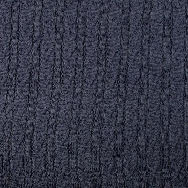 Merino-Strickstoff mit Zopfmuster, dunkelblau