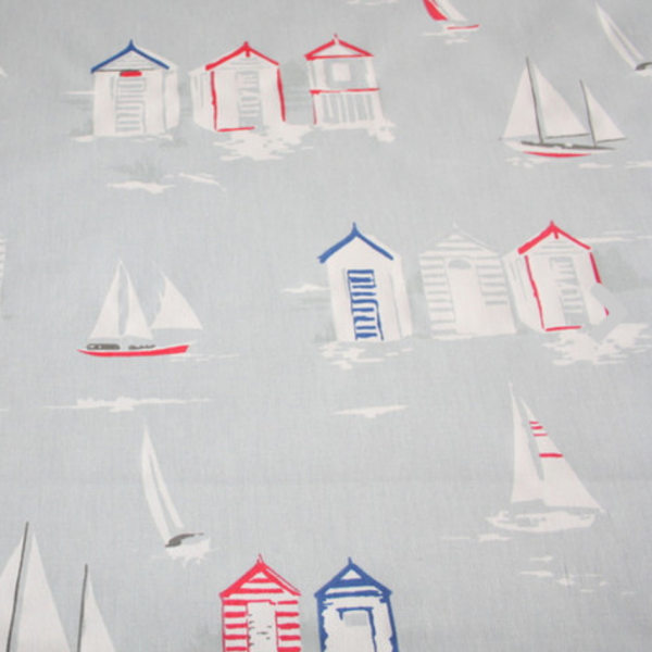 Dekostoff Beach Huts&Boats blaugrau