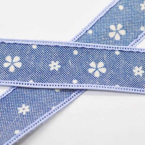 Blumen und Punkte, dunkelblau, Baumwollband