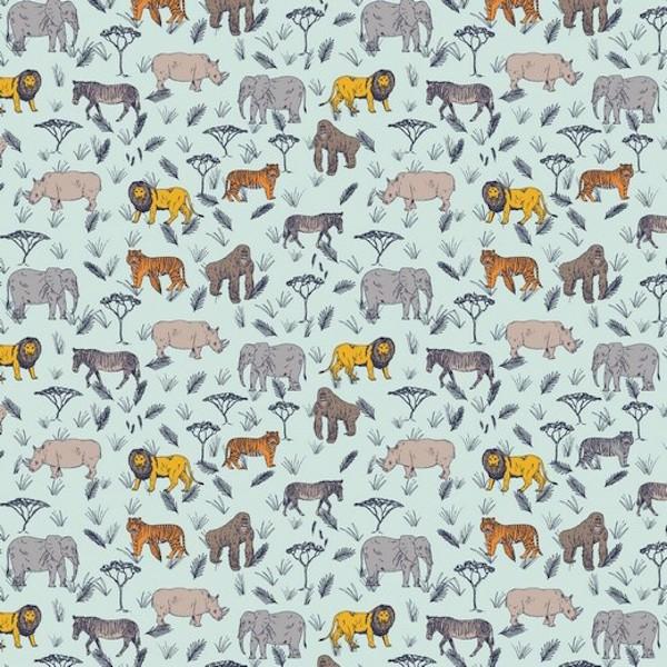 Serengeti Safari mint, Baumwoll-Popeline, 60°waschbar