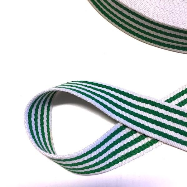Baumwollgurtband gestreift, grasgrün-weiß, 4 cm