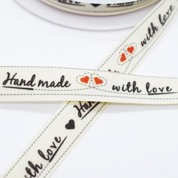 Handmade mit love (mit Herzen), Stoffband