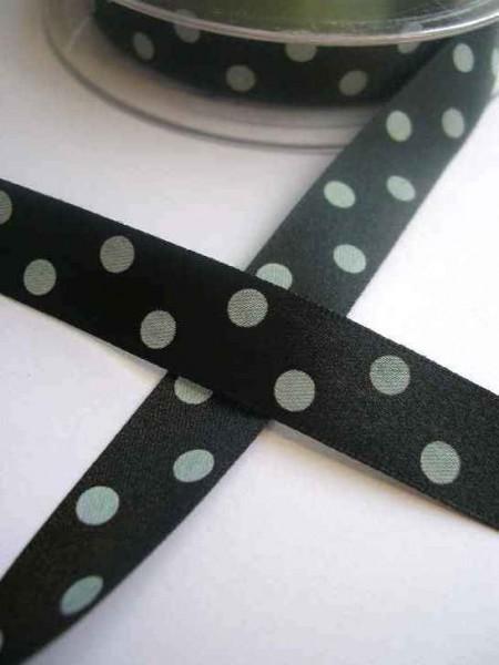 Satinband, polka dots, schwarz, 15 mm
