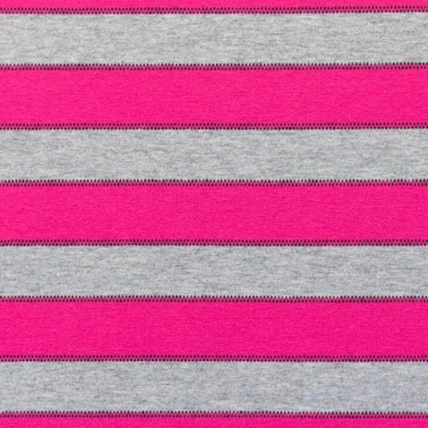 Streifen mit Punktlinien, hellgrau-meliert/pink, Jersey