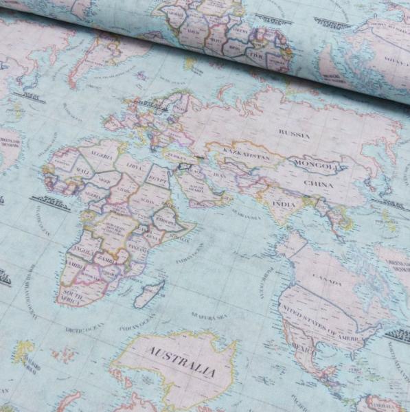 Baumwollstoff, Weltkarte hellblau