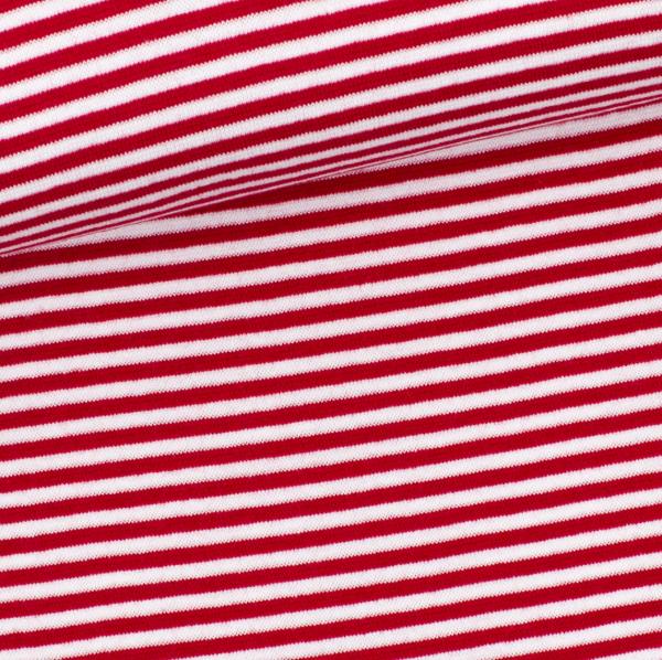 Ringelbündchen rot-weiß, gestreift