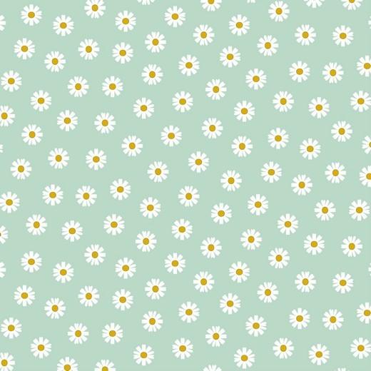 Daisy Flowers auf mint, Baumwollstoff, 60°waschbar