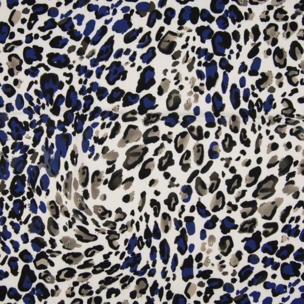 AUSVERKAUFT! Viskosewebstoff Leopardenmuster blau/grau