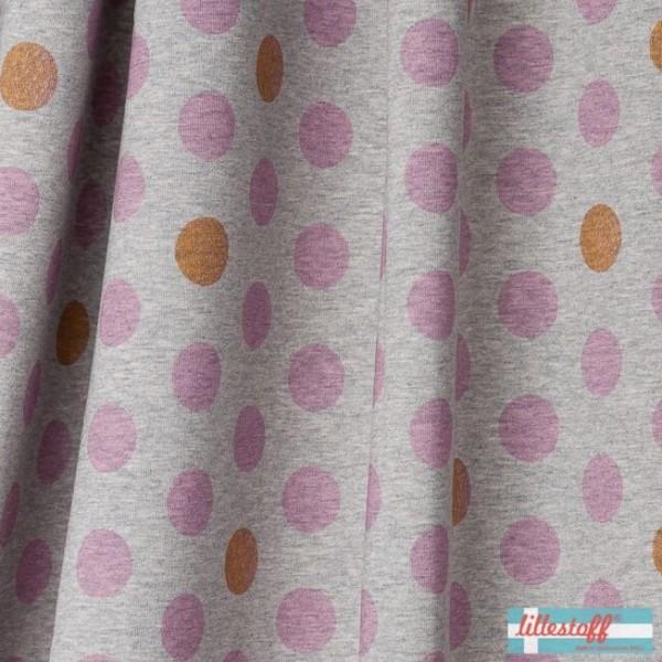 lillestoff Bio-Jersey, Conny Minidots, rosa auf grau-meliert