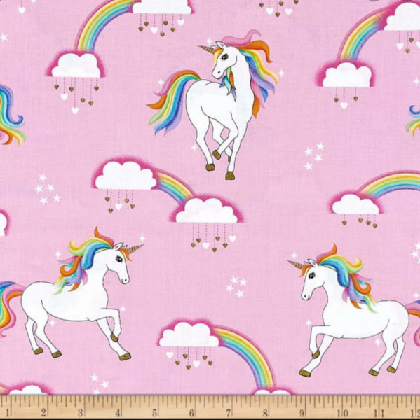 Michael Miller, Rainbow Hair Unicorns rosa, Baumwollstoff