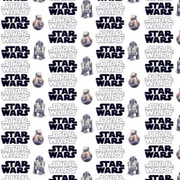 Star Wars-Logo&Figuren auf weiß, Baumwoll-Popeline