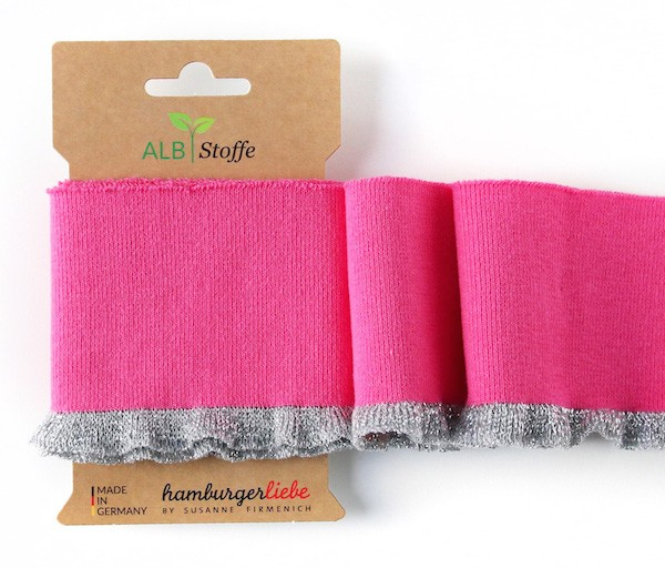 Strickbündchen Cuff Me GLAM Frill pink/silber-breit, 110 cm