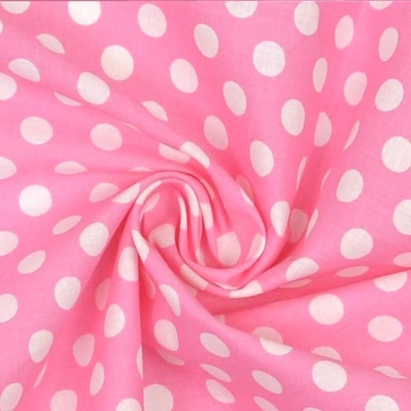 Sandy große Punkte, weiß auf rosa, Webstoff
