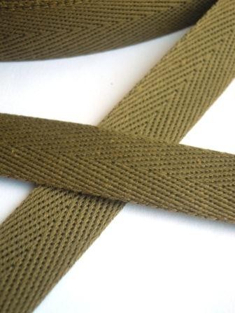 Köperband, 14 mm, khaki