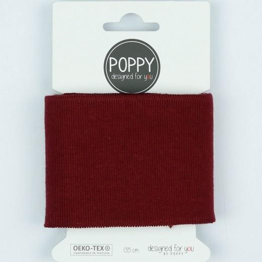 Poppy, Strickbündchen dunkelrot, 135 cm