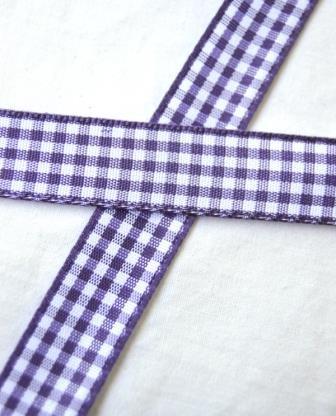 Stoffband, violett kariert, 15 mm