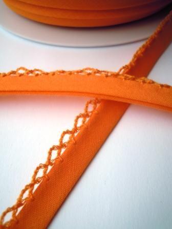 Schrägband mit Häkelborte, orange