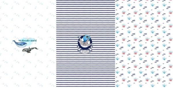 Stenzo Digitaldruck Walfisch weiß/blau, Paneel, Jersey