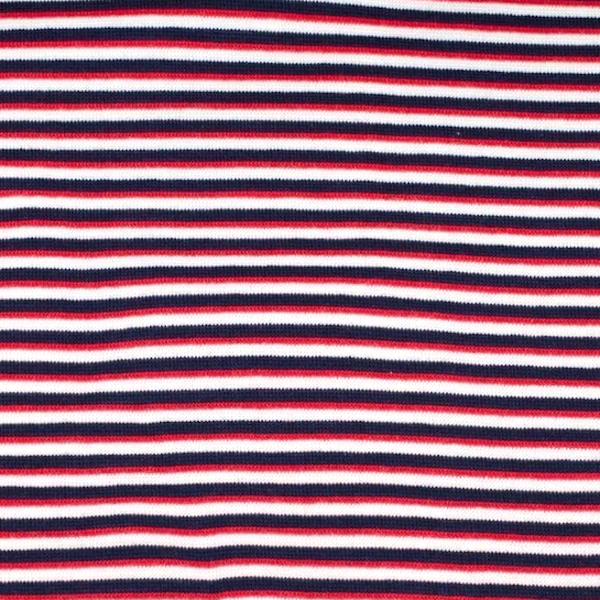 Ringelbündchen dunkelblau-weiß-rot