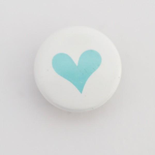 Druckknopf, Herz türkis auf weiß, 10 mm