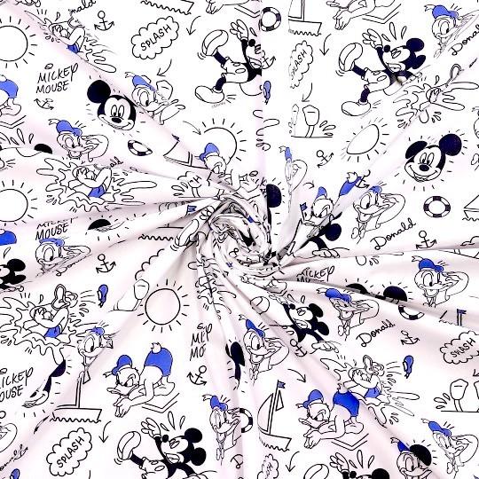 Mickey&Donald blau/schwarz auf weiß, Baumwoll-Popeline