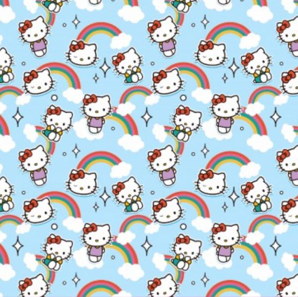 Hello Kitty hellblau, Baumwoll-Popeline