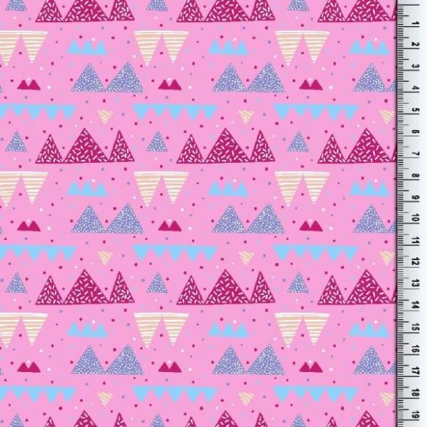 Gina Baumwollpopeline, bunte Dreicke pink