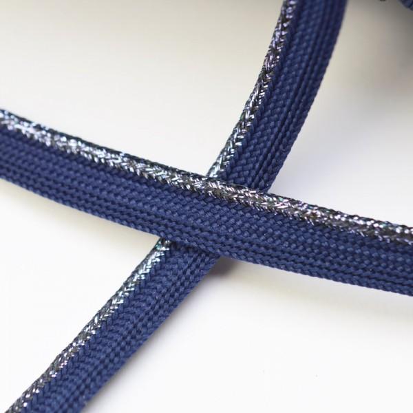 Baumwollpaspel, dunkelblau-lurex