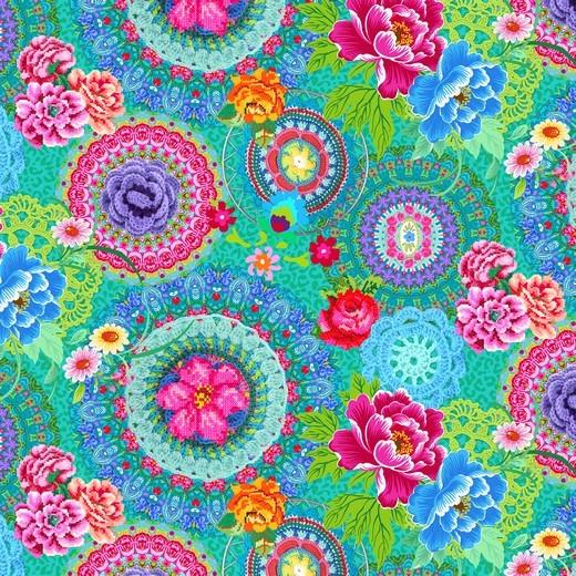 Digitaldruck Bunte Mandalablumen auf türkisgrün Jersey