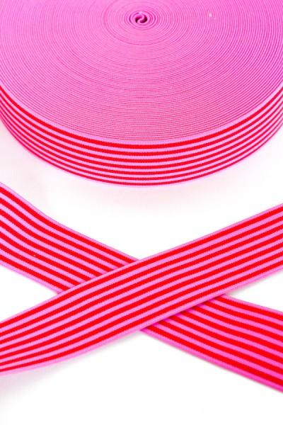 Gummiband breit, Streifen pink-hellpink