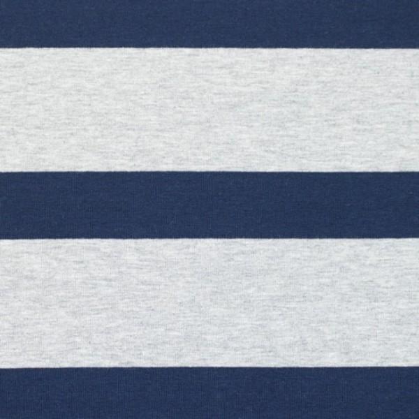 Jersey, Blockstreifen dunkelblau auf grau-meliert