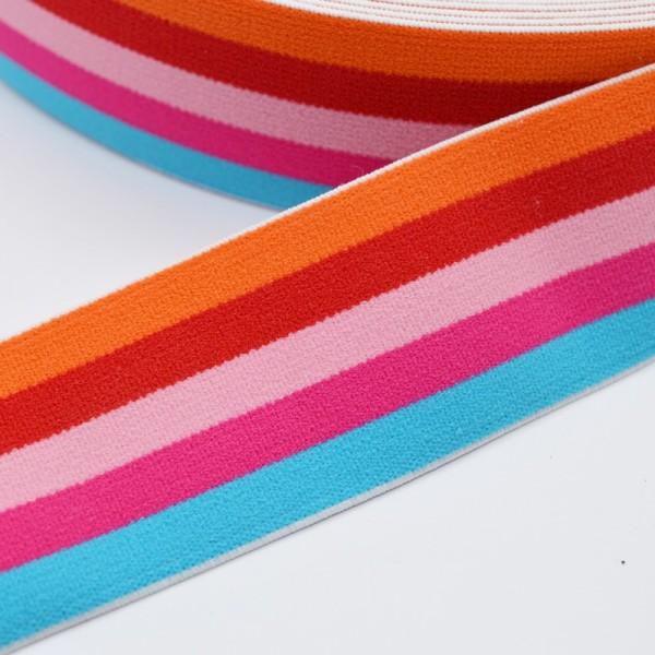 Gummiband breit, Streifen orange-rot-rosa-pink-türkis