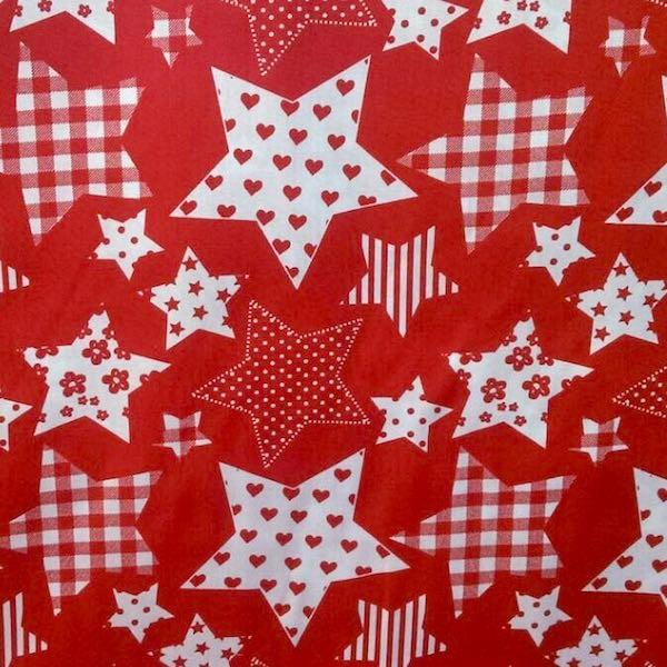 gemusterte Sterne, rot, Webstoff, *Letztes Stück ca. 100 cm*