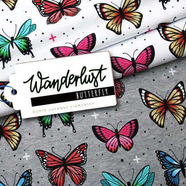 Wanderlust Butterfly grau-meliert, Bio-Jersey