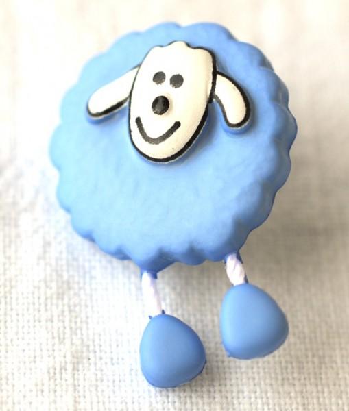 Schaf, blau, Knopf