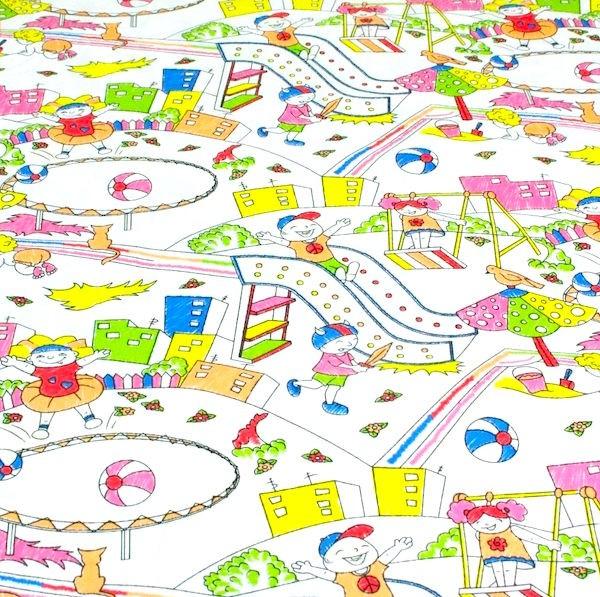 Kinderspielplatz auf weiß, Webstoff