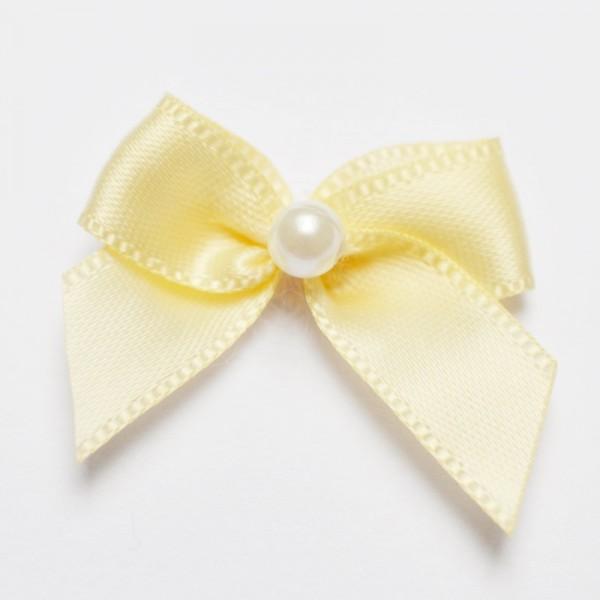 Satinschleife mit Perle, vanille